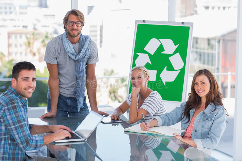 Team having meeting about recycling royalty free stock photos
