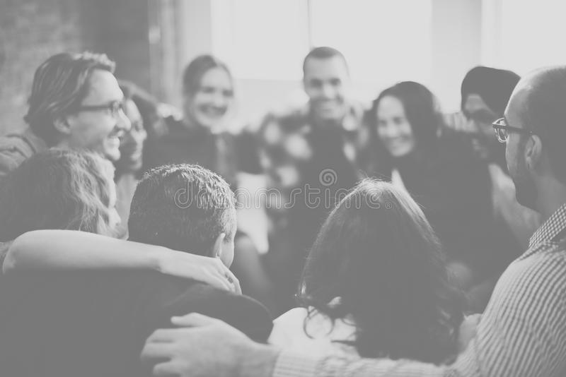 Team Huddle Harmony Togetherness Happiness begrepp arkivbild