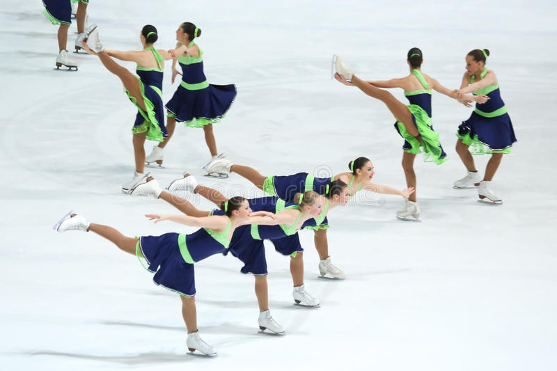 Team Hungary perform. ZAGREB, CROATIA - MARCH 11 : Team Hungary perform in the Juniors Short Program during Day 1 of the ISU Synchronized Skating Junior World stock photos