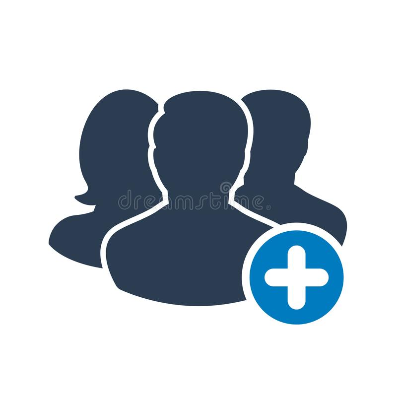 Team icon with add sign. Team icon and new, plus, positive symbol royalty free illustration