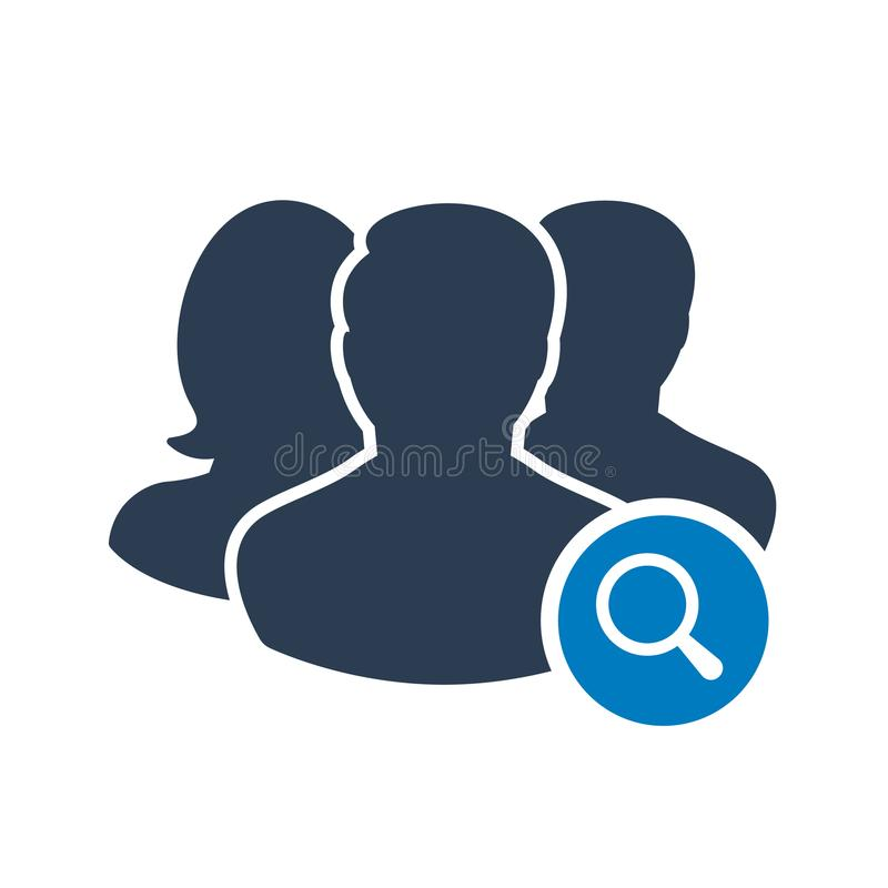 Team icon with research sign. Team icon and explore, find, inspect symbol stock illustration