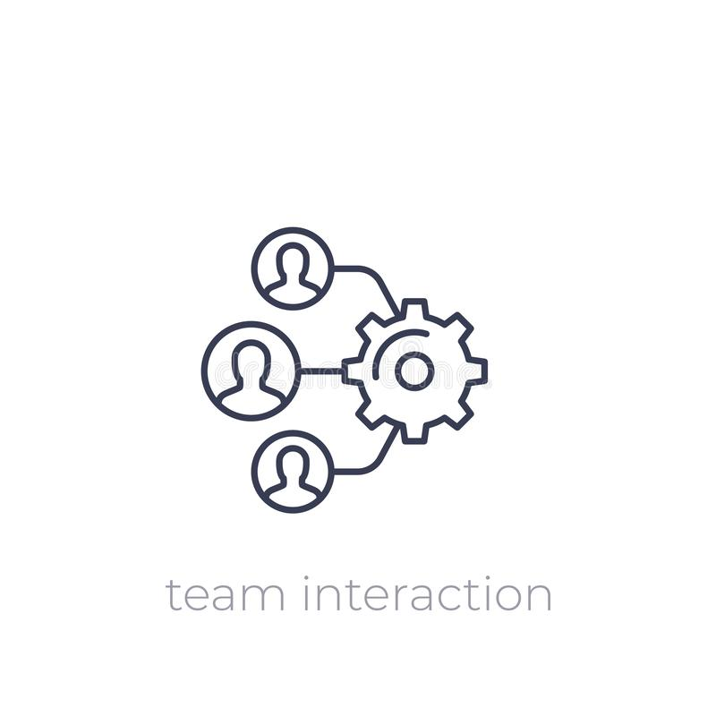 Team interaction, HR, management linear icon. Eps 10 file, easy to edit vector illustration