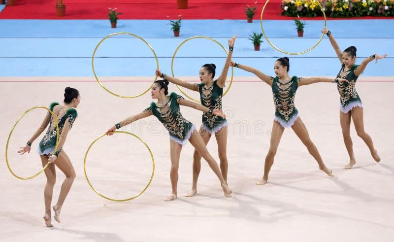 Team Japan Rhythmic Gymnastics. Sofia, Bulgaria - 30 March, 2018: Team Japan performs with hoops during Rhythmic Gymnastics World Cup Sofia 2018. Group royalty free stock images