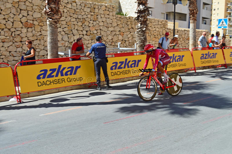 Team Katusha TT Bike La Vuelta. The Team Katusha rider approaches a bend at the end of the TT time trial stage of the 2016 La Vuelta España stock image