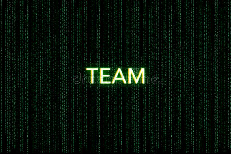 Team, keyword of scrum, on a green matrix background royalty free stock photography