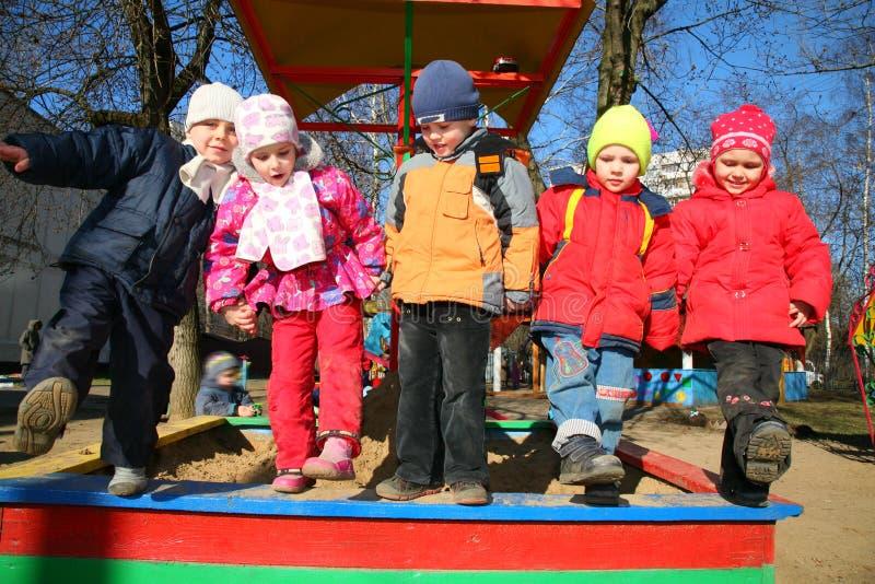 Team in kindergarten2 stock images