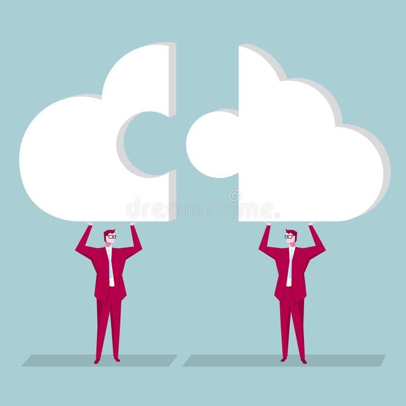 Team la conception de l'avant-projet, homme d'affaires retardent le puzzle de symbole de nuage illustration libre de droits