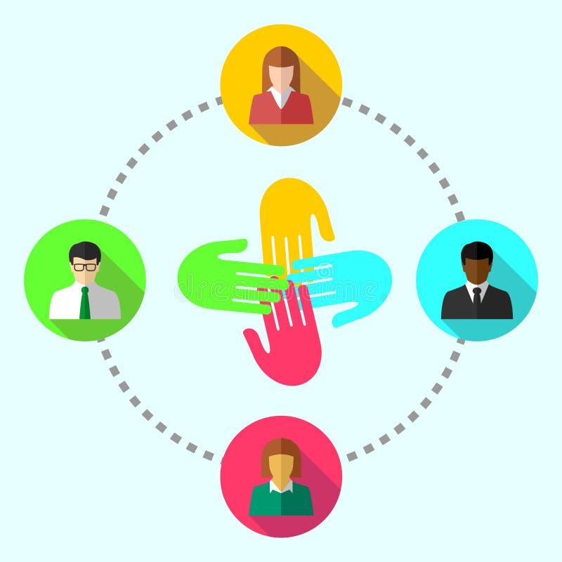 Team le concept de travail avec le groupe de gens d'affaires éthniquement divers illustration libre de droits