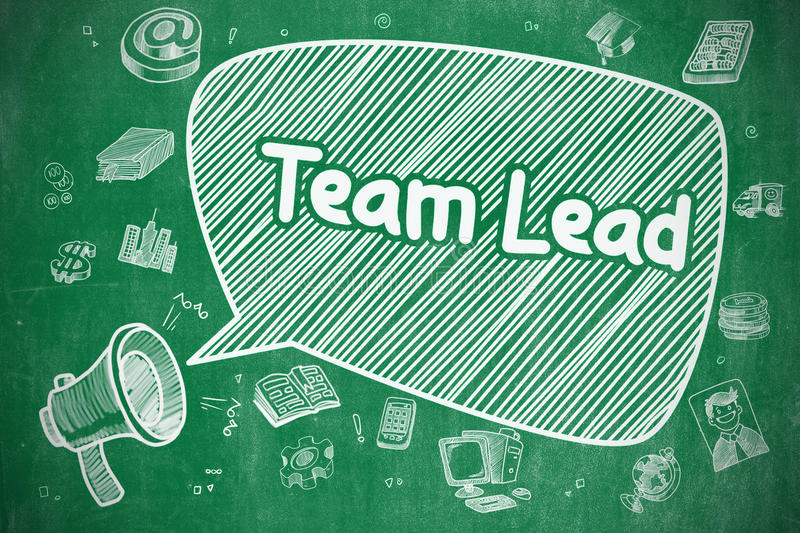 Team Lead - illustration de bande dessinée sur le tableau vert illustration stock