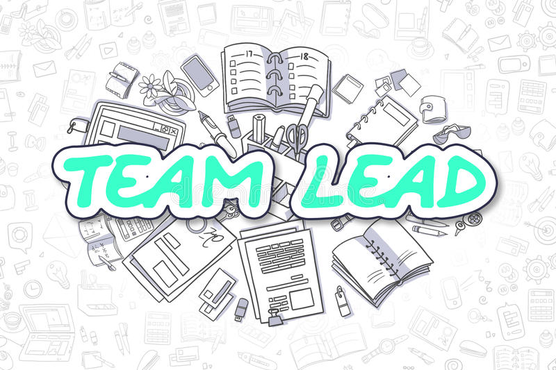 Team Lead - inscription verte de griffonnage Concept d'affaires illustration de vecteur