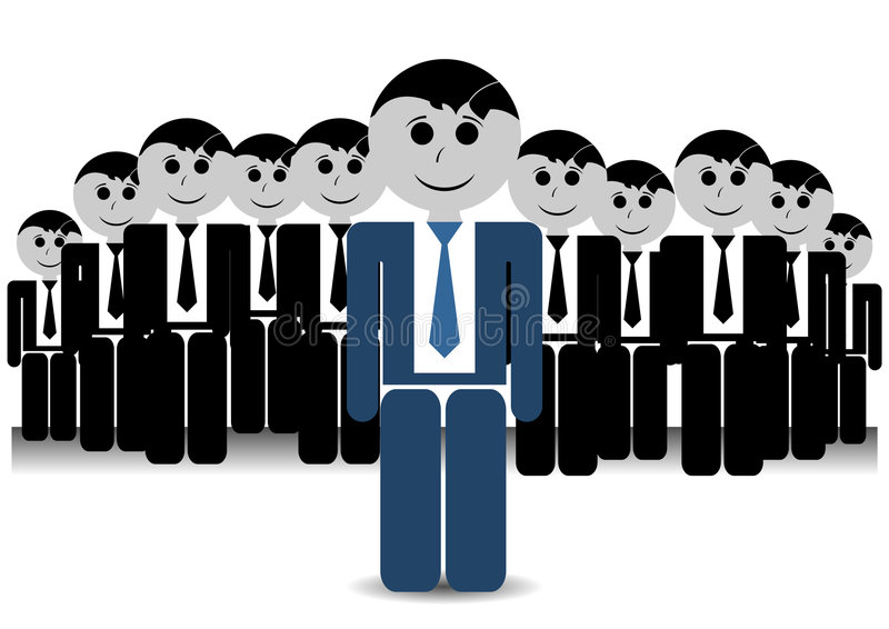 Team leader. With his stuff over white background stock illustration