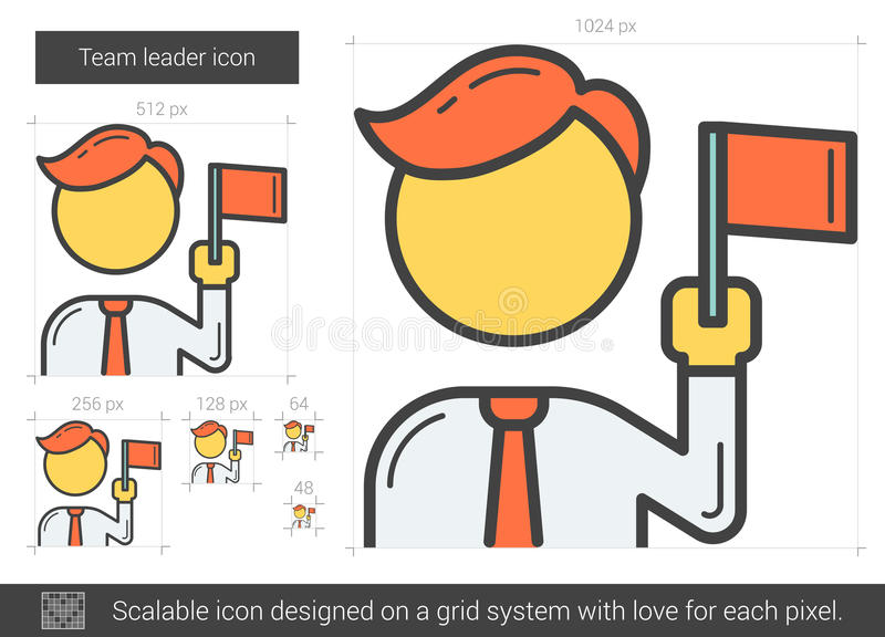 Team leader line icon. stock vector. Illustration of male ...
