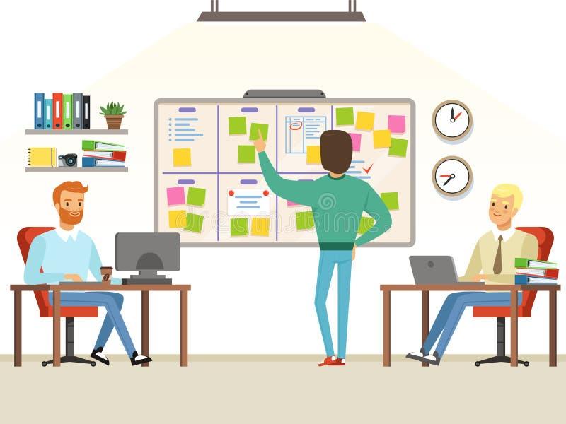 Team leader make planning tasks on the board. Whiteboard task development, developer and teamwork process planning, vector illustration royalty free illustration