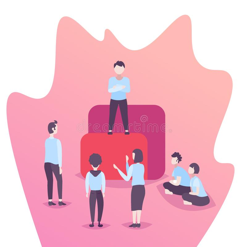 Team leader standing podium business people brainstorming leadership concept office workers working together successful vector illustration