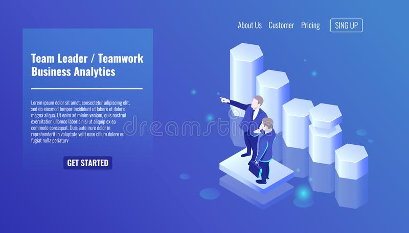 Team leader, teamworking, two businessman stay on growth graphic background, training in business, tutorship isometric royalty free illustration