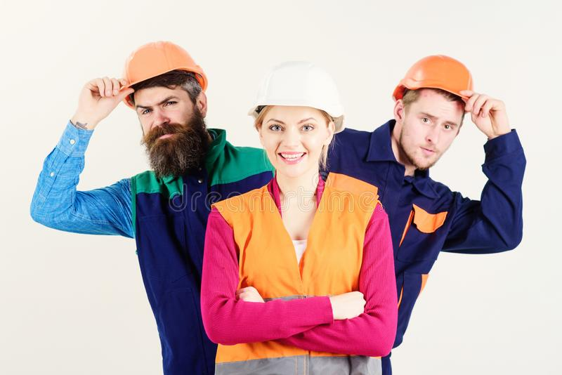 Team and leadership concept. Woman, leader in hard hat stock photos
