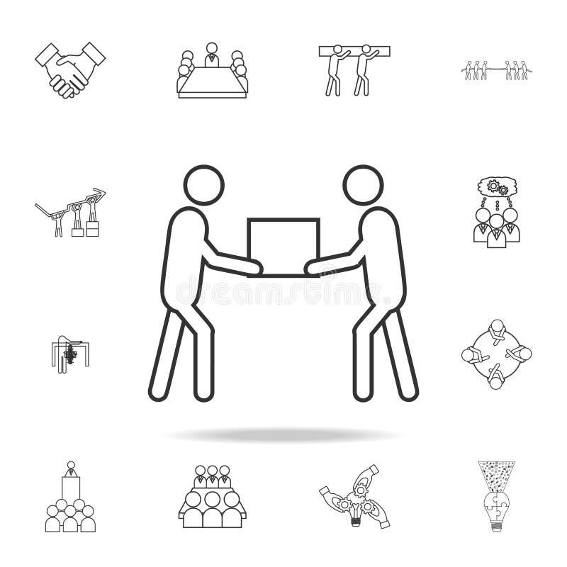 Team Lifting Heavy Object Icon Sistema detallado de iconos del esquema del trabajo del equipo Icono superior del diseño gráfico d ilustración del vector