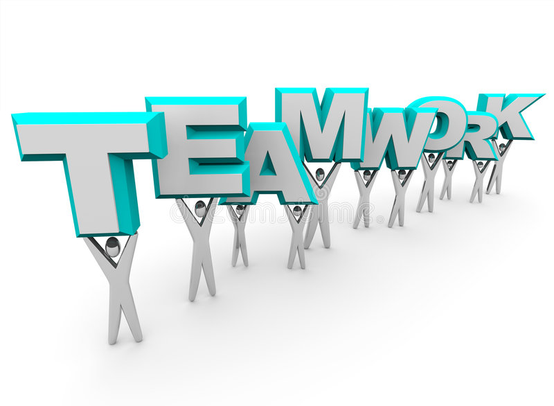 Team Lifting the Word Teamwork. A team of people lift the word Teamwork stock illustration