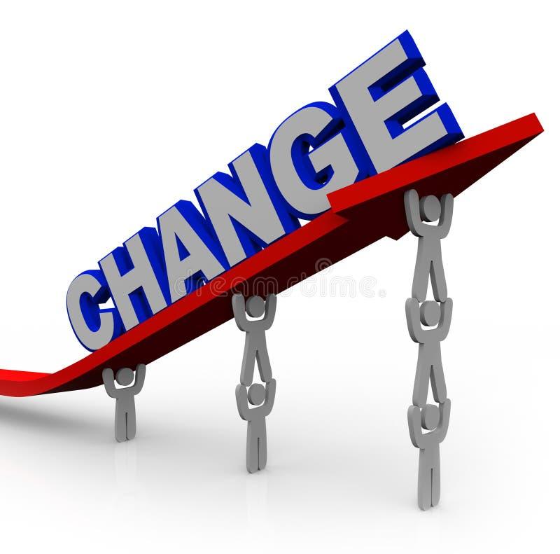 Team Lifts Word Change som ska omformas och lyckas royaltyfri illustrationer