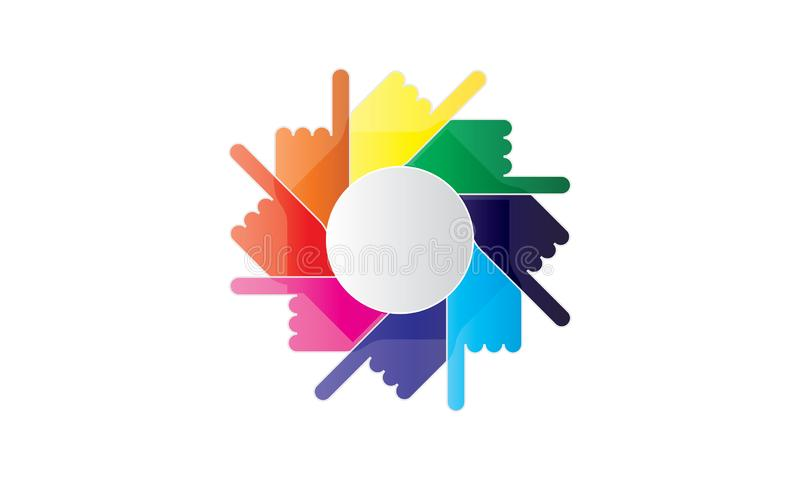Team Logo Template Of Many Hands Together Group of people joining hands. Many hands together: group of people joining hands. Multiracial Hands Making a Circle vector illustration