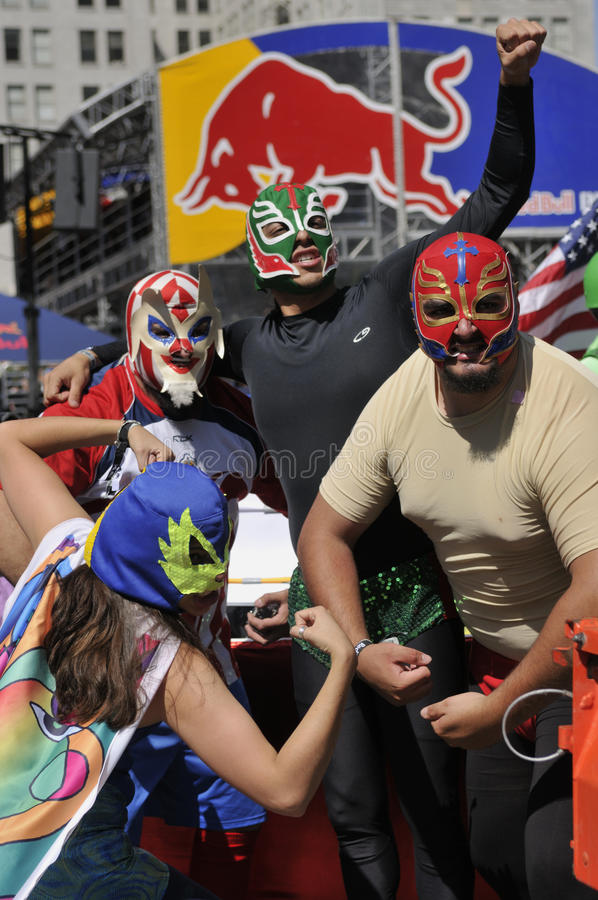 Download TEAM LUCHA LIBRE editorial photo. Image of posing, blue - 19597471
