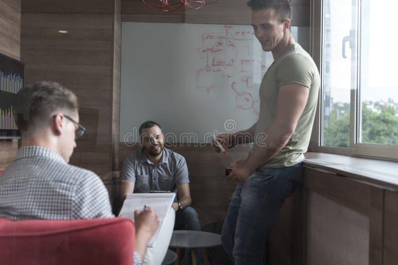 Team mötet och idékläckning i litet privat kontor arkivfoton