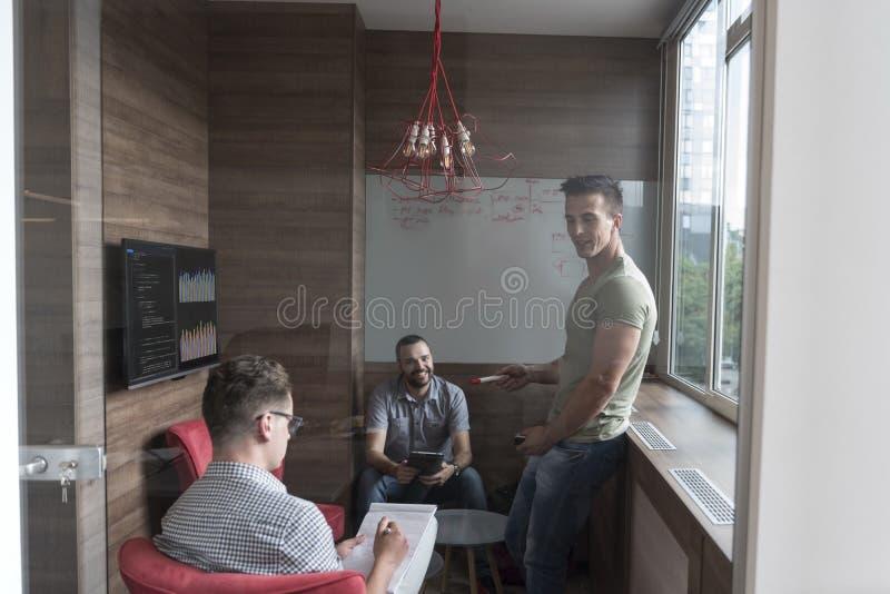 Team mötet och idékläckning i litet privat kontor arkivbild