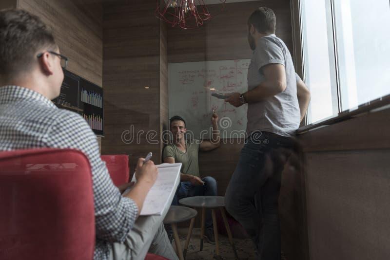 Team mötet och idékläckning i litet privat kontor royaltyfria bilder