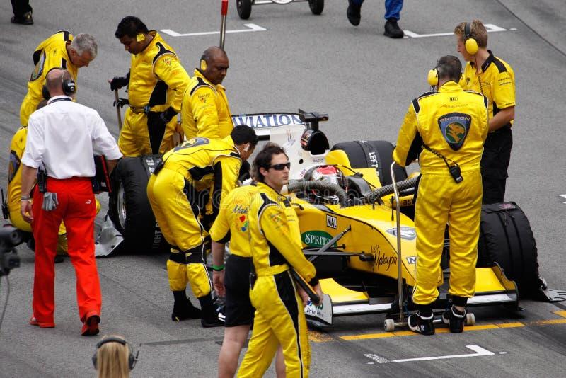 Team Malaysia A1 GP car preparing for the start stock photos