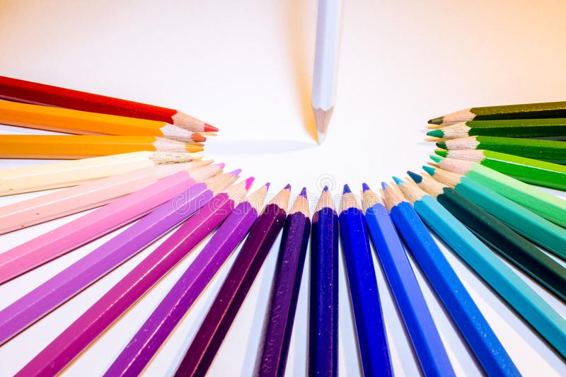 Team management of crayons. stock photo
