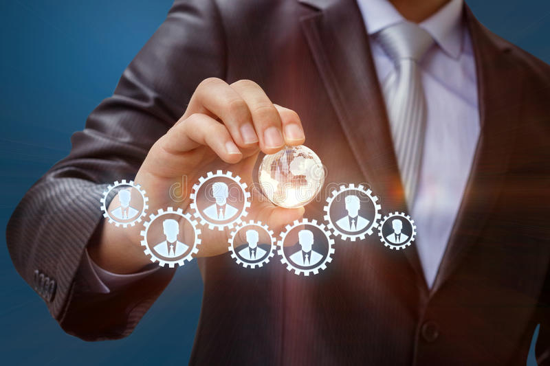 Team management in the global market. Team management in the global market concept design stock image
