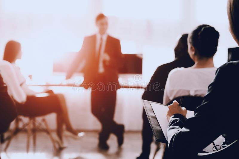 Team of Managers on Business Meeting in Office. Training in Office. Modern Office Concept. Cooperation with Colleagues. stock photo
