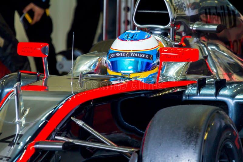Team McLaren Honda F1, Fernando Alonso, 2015 fotografering för bildbyråer