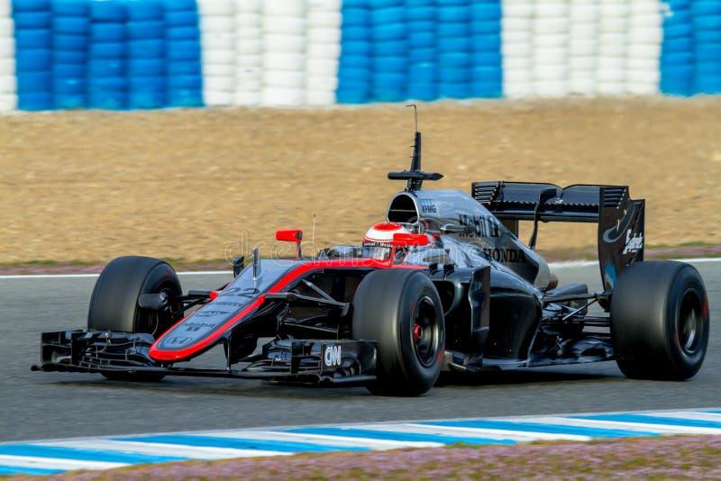 Team McLaren Honda F1, Jenson Button, 2015 royaltyfri bild