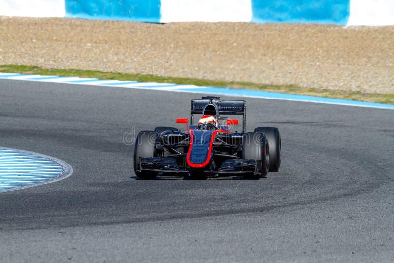 Team McLaren Honda F1, Jenson Button, 2015 royaltyfria bilder