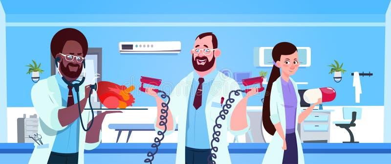 Team Of Medical Doctors Holding-Ausrüstung für Herzwiederbelebung über Krankenhaus Ward Background stock abbildung