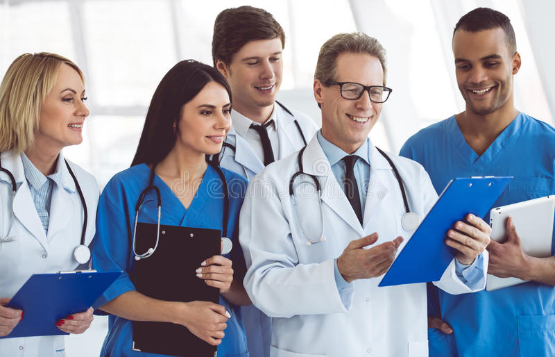 Team of medical doctors royalty free stock photo