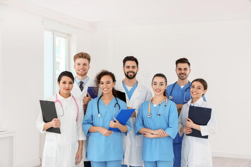 Team of medical workers in hospital royalty free stock images
