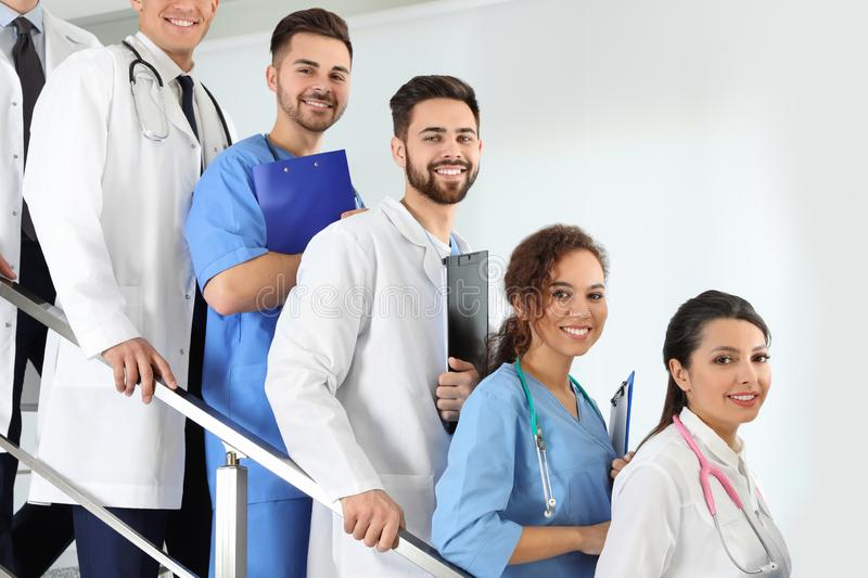 Team of medical workers in hospital stock photo