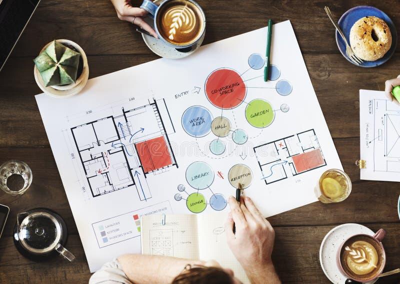 Team Meeting Brainstorming Planning Analysing-Concept stock afbeeldingen
