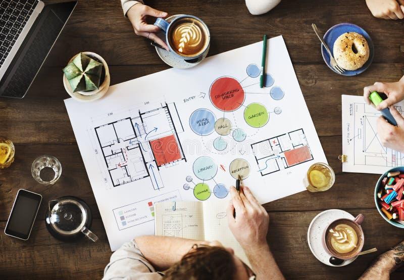 Team Meeting Brainstorming Planning Analysing-Concept royalty-vrije stock afbeelding