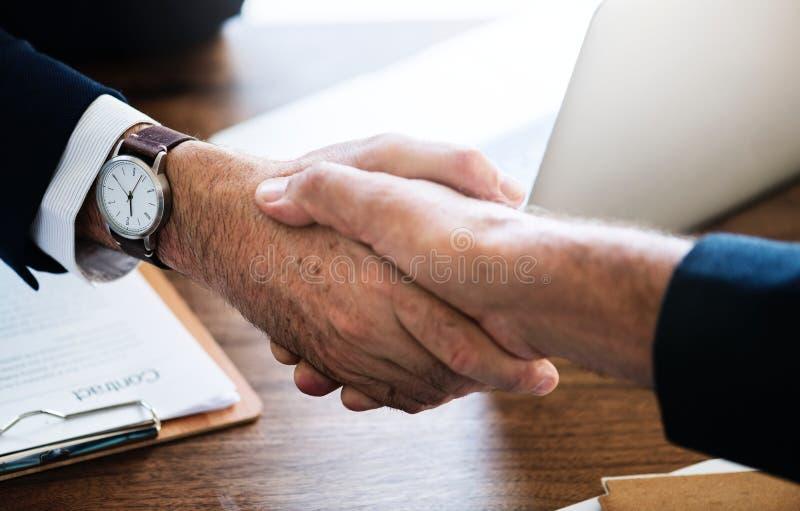 Team member meeting successful deal stock photos