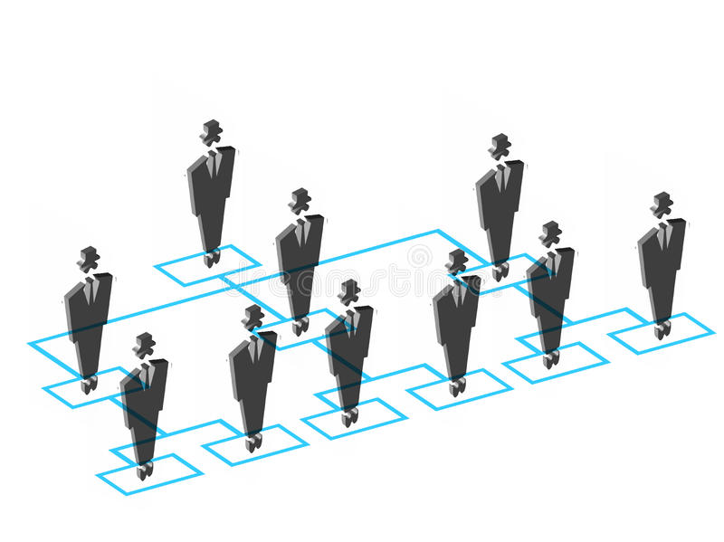 Team members. Illustration of flow chart of Team members royalty free illustration