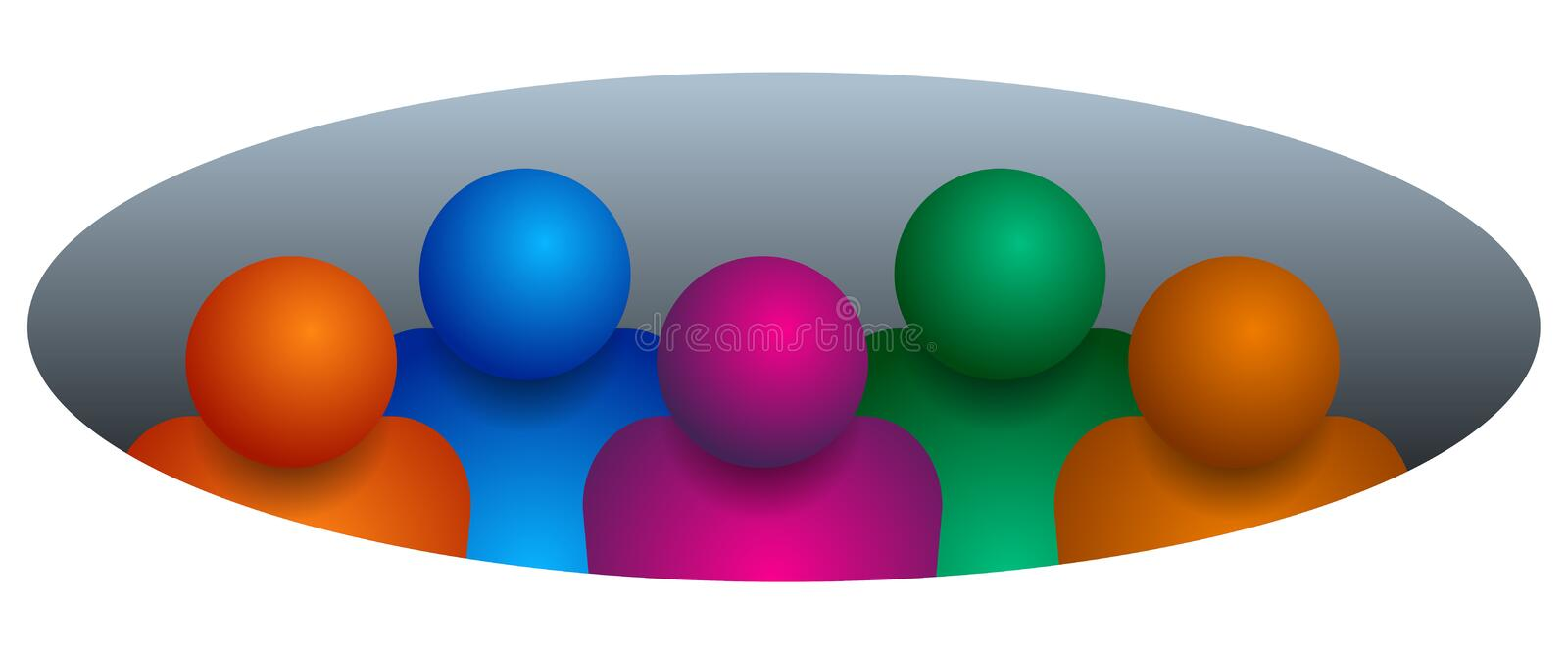 Team members set round background vector illustration