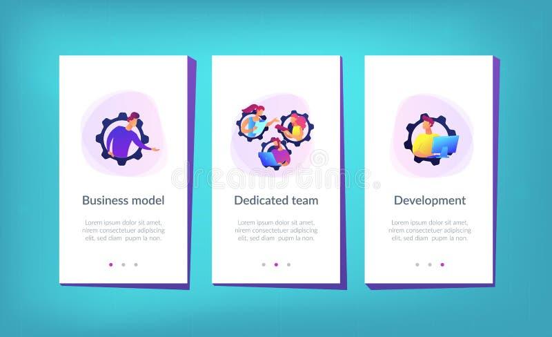 Dedicated team it app interface template royalty free illustration