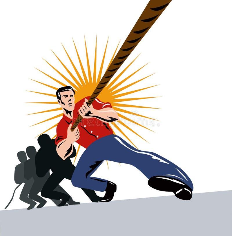 Team of men pulling together vector illustration