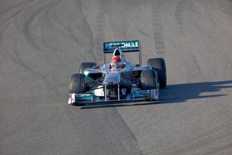 Team Mercedes F1, Michael Schumacher, 2011 lizenzfreies stockfoto