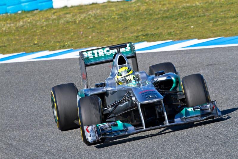 Team Mercedes F1, Nico Rosberg, 2012 royalty free stock photography