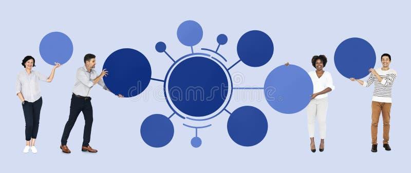 Team met verbonden rondschrijvensgrafiek stock afbeelding