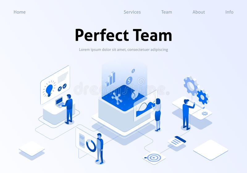 Team Metaphor Service Isometric Banner perfecto libre illustration